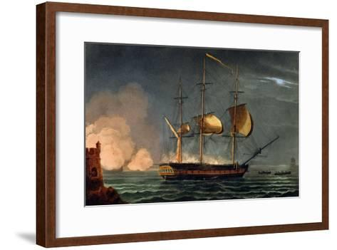 Cutting out of the Hermione from the Harbour of Porto Cavallo, October 25th 1799-Thomas Whitcombe-Framed Art Print