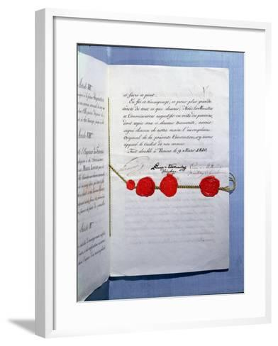 Marriage Contract of Emperor Napoleon Bonaparte and Marie-Louise Vienna, 9th March 1810--Framed Art Print