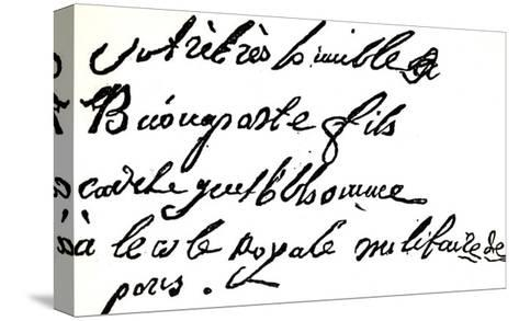 """Signature of Napoleon Bonaparte from 1785, from """"Napoleon"""" by Armand Dayot, Paris, 1895--Stretched Canvas Print"""
