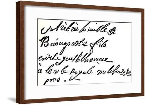 """Signature of Napoleon Bonaparte from 1785, from """"Napoleon"""" by Armand Dayot, Paris, 1895--Framed Art Print"""