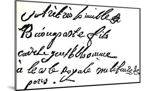 """Signature of Napoleon Bonaparte from 1785, from """"Napoleon"""" by Armand Dayot, Paris, 1895--Mounted Giclee Print"""
