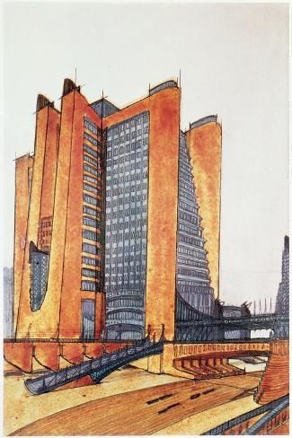 Study Design for a New Town, 1914-Antonio Sant'Elia-Stretched Canvas Print