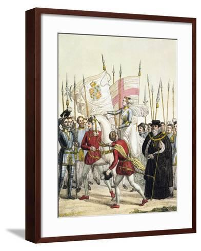 Queen Elizabeth I Rallying the Troops at Tilbury Before the Arrival of the Spanish Armada, 1588- Bramati-Framed Art Print