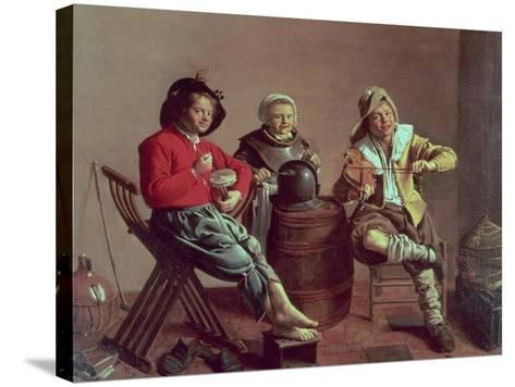 Two Boys and a Girl Making Music, 1629-Jan Miense Molenaer-Stretched Canvas Print