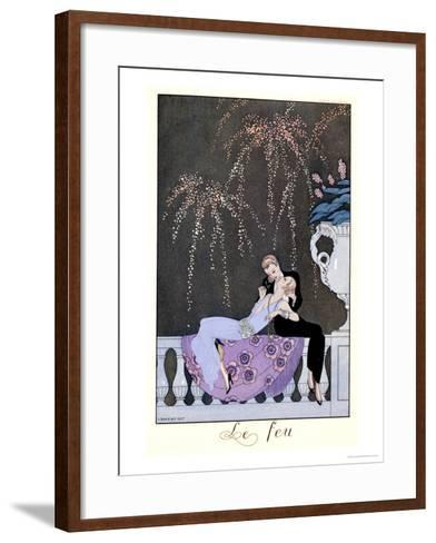 """The Fire, Illustration for """"Fetes Galantes"""" by Paul Verlaine 1924-Georges Barbier-Framed Art Print"""