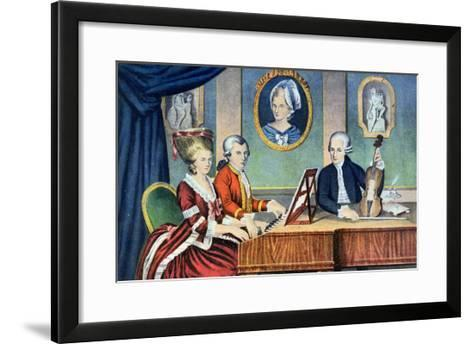 Portrait of Leopold Mozart and His Children, Wolfgang Amadeus and Maria Anna 1780-81--Framed Art Print