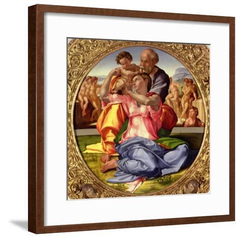 Holy Family with St. John, 1504-05-Michelangelo Buonarroti-Framed Art Print