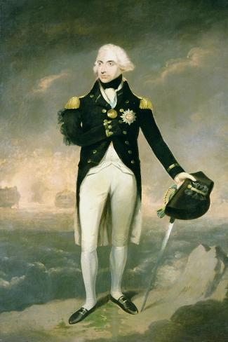 Portrait of Lord Nelson with Santa Cruz Beyond-Lemuel Francis Abbott-Stretched Canvas Print