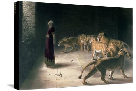 Daniel in the Lions Den, Mezzotint by J. B. Pratt, with Hand Colouring-Briton Rivi?re-Stretched Canvas Print