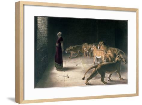 Daniel in the Lions Den, Mezzotint by J. B. Pratt, with Hand Colouring-Briton Rivi?re-Framed Art Print