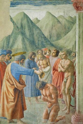 St. Peter Baptising the Neophytes, circa 1427-Tommaso Masaccio-Stretched Canvas Print
