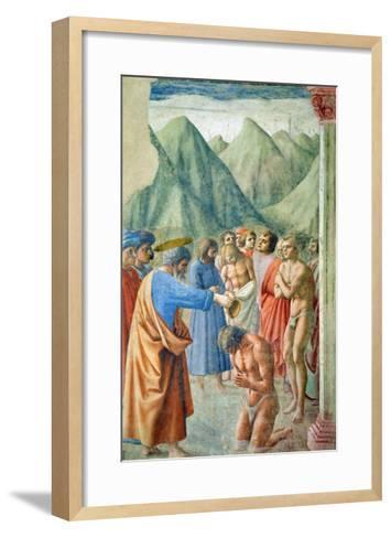 St. Peter Baptising the Neophytes, circa 1427-Tommaso Masaccio-Framed Art Print