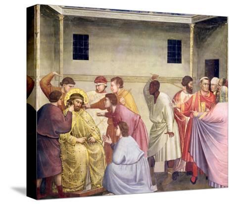 The Mocking of Christ, circa 1305-Giotto di Bondone-Stretched Canvas Print