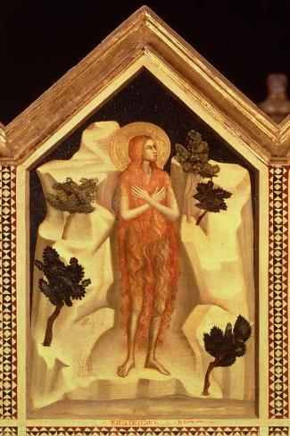 St. Mary Magdalene, from the St. Reparata Polyptych (Detail)-Giotto di Bondone-Stretched Canvas Print