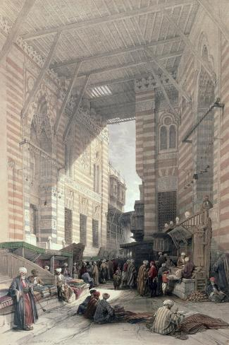 "Bazaar of the Silk Merchants, Cairo, from ""Egypt and Nubia,"" Vol.3-David Roberts-Stretched Canvas Print"