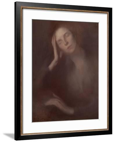 Woman Leaning on a Table, 1893-Eugene Carriere-Framed Art Print