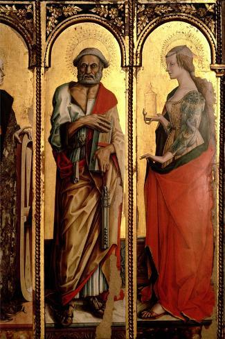 St. Peter and St. Mary Magdalene, Detail from the Santa Lucia Triptych-Carlo Crivelli-Stretched Canvas Print