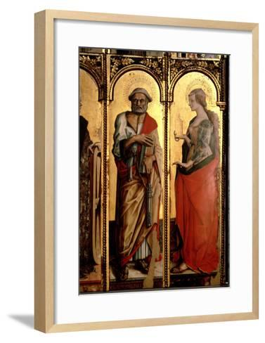 St. Peter and St. Mary Magdalene, Detail from the Santa Lucia Triptych-Carlo Crivelli-Framed Art Print