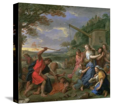 Moses Defending the Daughters of Jethro-Charles Le Brun-Stretched Canvas Print