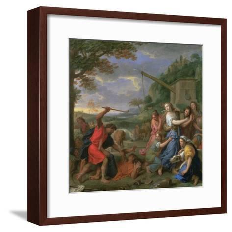 Moses Defending the Daughters of Jethro-Charles Le Brun-Framed Art Print
