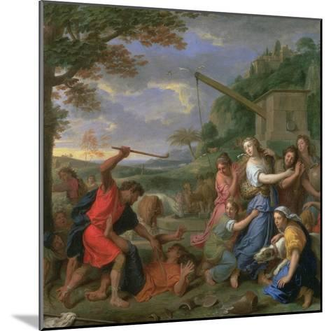 Moses Defending the Daughters of Jethro-Charles Le Brun-Mounted Giclee Print