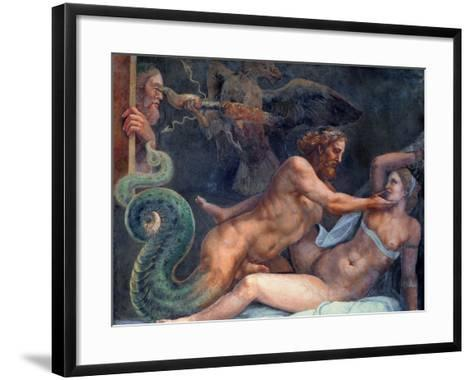 Olympia is Seduced by Jupiter, Whose Thunderbolt is Seized by an Eagle-Giulio Romano-Framed Art Print