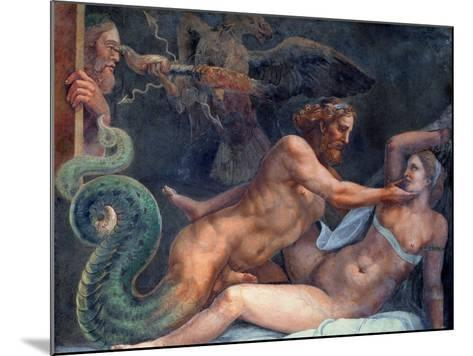 Olympia is Seduced by Jupiter, Whose Thunderbolt is Seized by an Eagle-Giulio Romano-Mounted Giclee Print