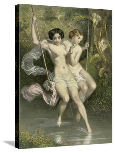 """Two Ladies on a Swing, Illustration from """"Les Sylphides""""-Charles Bargue-Stretched Canvas Print"""
