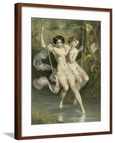 """Two Ladies on a Swing, Illustration from """"Les Sylphides""""-Charles Bargue-Framed Art Print"""