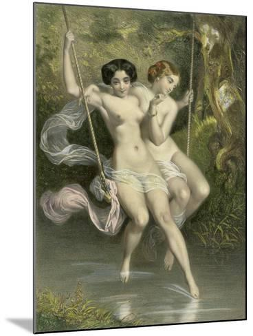"""Two Ladies on a Swing, Illustration from """"Les Sylphides""""-Charles Bargue-Mounted Giclee Print"""