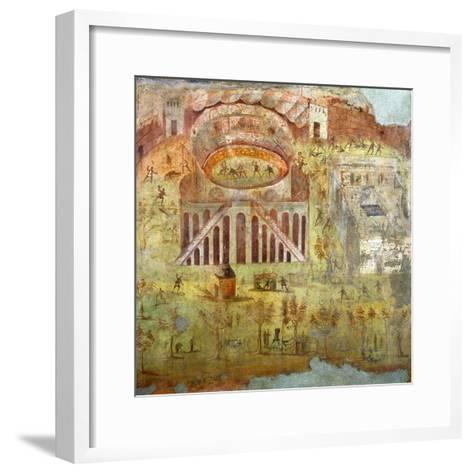 A Fight in the Amphitheatre, 59 Ad, Battle Between Citizens of Pompeii and Neceria--Framed Art Print