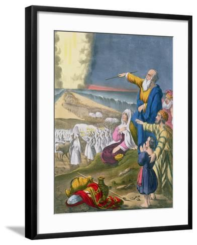 Moses Parting the Red Sea, from a Bible Printed by Edward Gover, 1870s-Siegfried Detler Bendixen-Framed Art Print