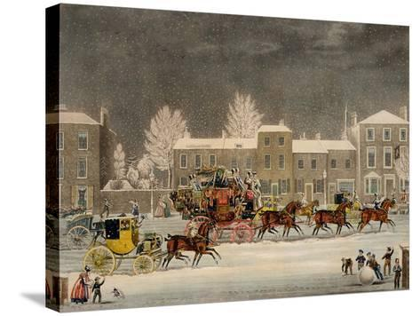 The Approach to Christmas-James Pollard-Stretched Canvas Print