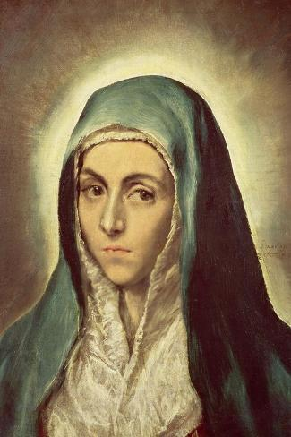The Virgin Mourning-El Greco-Stretched Canvas Print