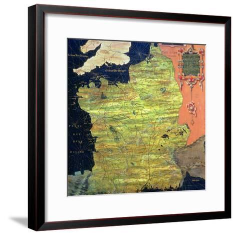 """Map of Sixteenth Century France, from the """"Sala Delle Carte Geografiche""""-Stefano And Danti Bonsignori-Framed Art Print"""