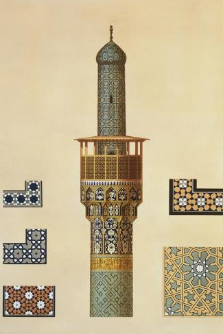 A Minaret and Ceramic Details from the Mosque of the Medrese-I-Shah-Hussein, Isfahan-Pascal Xavier Coste-Stretched Canvas Print