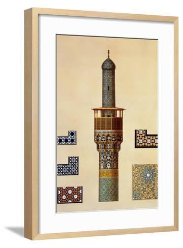 A Minaret and Ceramic Details from the Mosque of the Medrese-I-Shah-Hussein, Isfahan-Pascal Xavier Coste-Framed Art Print
