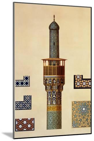 A Minaret and Ceramic Details from the Mosque of the Medrese-I-Shah-Hussein, Isfahan-Pascal Xavier Coste-Mounted Giclee Print