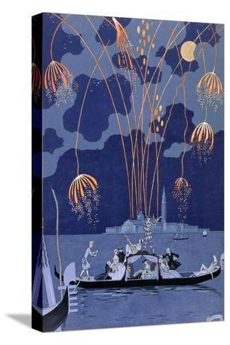 """Fireworks in Venice, Illustration for """"Fetes Galantes"""" by Paul Verlaine 1924-Georges Barbier-Stretched Canvas Print"""