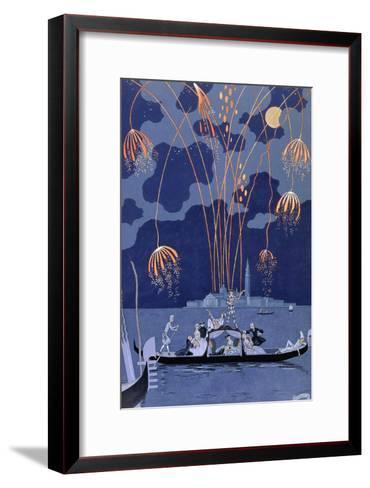 "Fireworks in Venice, Illustration for ""Fetes Galantes"" by Paul Verlaine 1924-Georges Barbier-Framed Art Print"