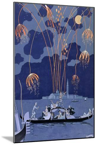 """Fireworks in Venice, Illustration for """"Fetes Galantes"""" by Paul Verlaine 1924-Georges Barbier-Mounted Giclee Print"""