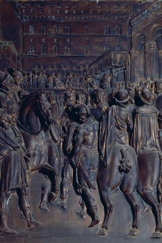 St. Agostino Preaching to the Florentines, Relief from the Salviati Chapel-Giambologna-Stretched Canvas Print
