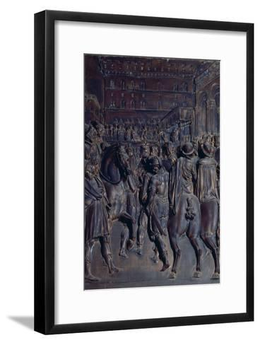 St. Agostino Preaching to the Florentines, Relief from the Salviati Chapel-Giambologna-Framed Art Print