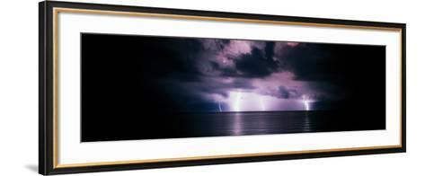 Lightning Bolts Over Gulf Coast, Florida, USA--Framed Art Print