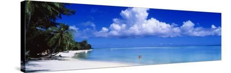 Ocean, Water, Clouds, Relaxing, Matira Beach, Tahiti, French Polynesia, South Pacific, Island--Stretched Canvas Print