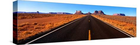 Empty Road, Clouds, Blue Sky, Monument Valley, Utah, USA--Stretched Canvas Print
