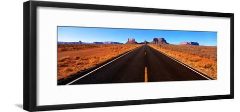 Empty Road, Clouds, Blue Sky, Monument Valley, Utah, USA--Framed Art Print
