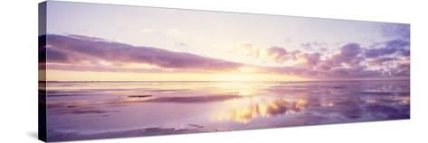 Sunrise on Beach, North Sea, Germany--Stretched Canvas Print