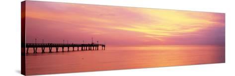 Sunset at Pier, Water, Caspersen Beach, Venice, Florida, USA--Stretched Canvas Print