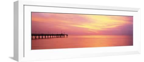 Sunset at Pier, Water, Caspersen Beach, Venice, Florida, USA--Framed Art Print